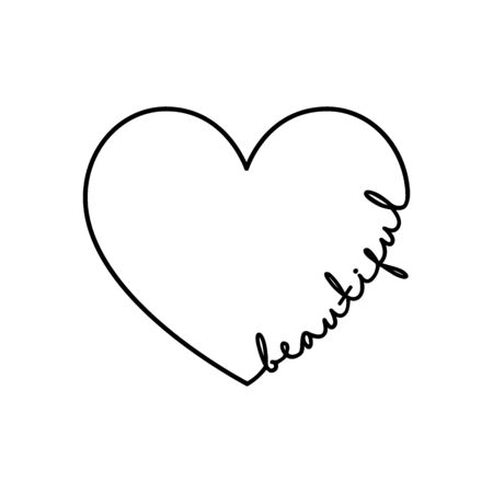Beautiful - calligraphy word with hand drawn heart. Lettering symbol illustration for t-shirt, poster, wedding, greeting card isolated on a white background.
