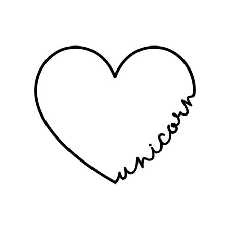 Unicorn - calligraphy word with hand drawn heart. Lettering symbol illustration for t-shirt, poster, wedding, greeting card isolated on a white background. 向量圖像