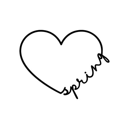 Spring - calligraphy word with hand drawn heart. Lettering symbol illustration for t-shirt, poster, wedding, greeting card isolated on a white background.