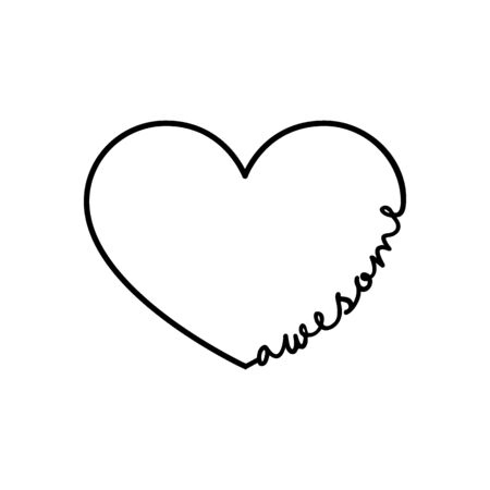 Awesome - calligraphy word with hand drawn heart. Lettering symbol illustration for t-shirt, poster, wedding, greeting card