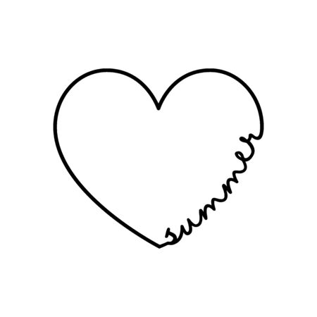 Summer - calligraphy word with hand drawn heart. Lettering symbol illustration for t-shirt, poster, wedding, greeting card 向量圖像