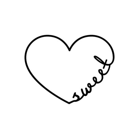 Sweet - calligraphy word with hand drawn heart. Lettering symbol illustration for t-shirt, poster, wedding, greeting card isolated on a white background.