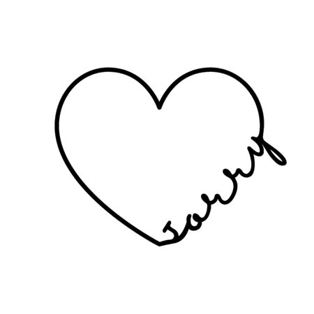 Sorry - calligraphy word with hand drawn heart. Lettering symbol illustration for t-shirt, poster, wedding, greeting card isolated on a white background. 向量圖像