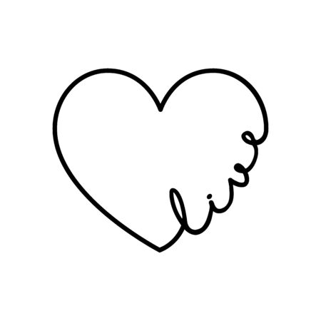 Live - calligraphy word with hand drawn heart. Lettering symbol illustration for t-shirt, poster, wedding, greeting card