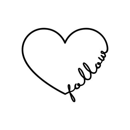 Follow - calligraphy word with hand drawn heart. Lettering symbol illustration for t-shirt, poster, wedding, greeting card