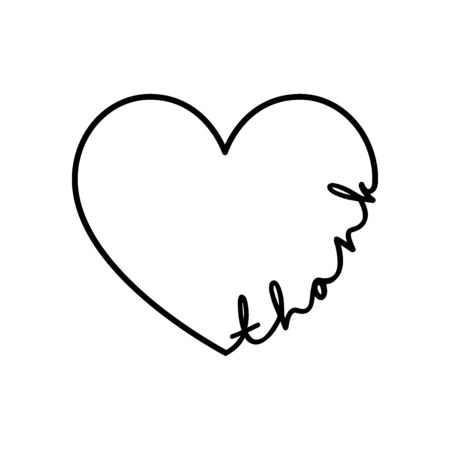 Thank - calligraphy word with hand drawn heart. Lettering symbol illustration for t-shirt, poster, wedding, greeting card