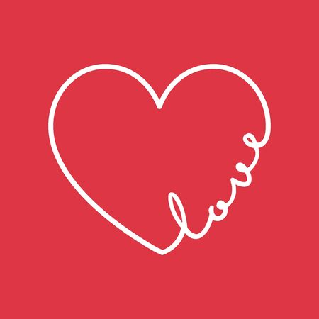 Love - calligraphy word with hand drawn heart. Lettering symbol illustration for t-shirt, poster, wedding, greeting card
