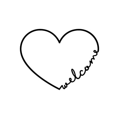 Welcome - calligraphy word with hand drawn heart. Lettering symbol illustration for t-shirt, poster, wedding, greeting card 向量圖像