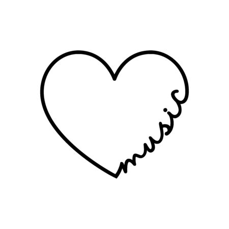 Music - calligraphy word with hand drawn heart. Lettering symbol illustration for t-shirt, poster, wedding, greeting card