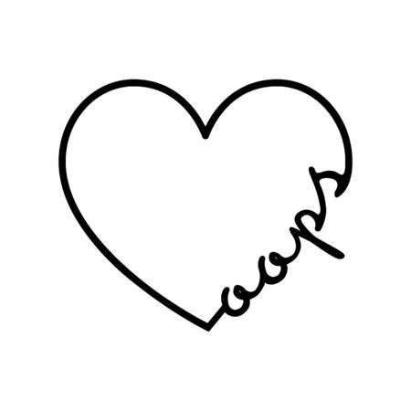 Oops - calligraphy word with hand drawn heart. Lettering symbol illustration for t-shirt, poster, wedding, greeting card 向量圖像