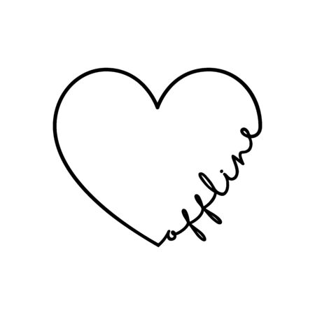 Offline - calligraphy word with hand drawn heart. Lettering symbol illustration for t-shirt, poster, wedding, greeting card