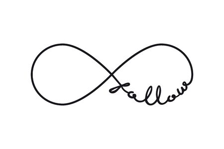 Follow - infinity symbol. Repetition and unlimited cyclicity sign