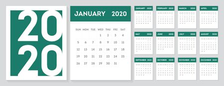 2020 Gregorian calendar design template. Set of 12 months calendar in a minimalist style. Week starts from Sunday.