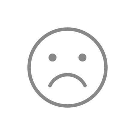 Unhappy emoji line icon. Upset, unsatisfied, face symbol.
