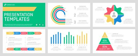 Set of red and green, blue, yellow elements for multipurpose presentation template slides with graphs and charts.