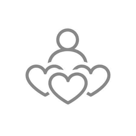 Human with three hearts, donation line icon. Like, feedback, charity symbol
