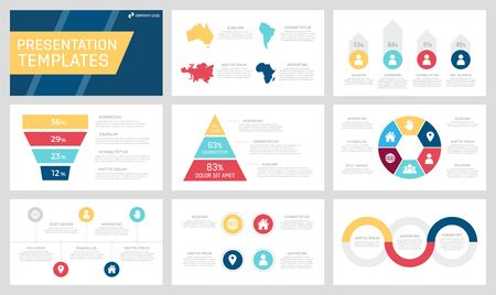Set of yellow, dark blue, red and claret elements for multipurpose presentation template slides with graphs and charts. Leaflet, corporate report, marketing, advertising, book cover design. Çizim
