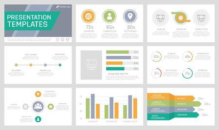 Ensemble d'éléments orange, verts, gris et turquoise pour les diapositives de modèles de présentation polyvalents avec graphiques et tableaux. Dépliant, rapport d'entreprise, marketing, publicité, conception de couverture de livre. Vecteurs