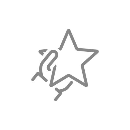 Hand holds star line icon. Customer review, add to favorites, rating, quality control symbol