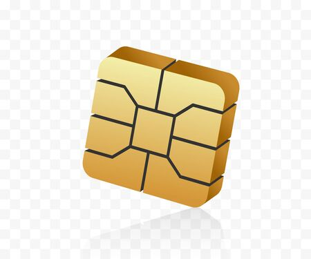 3D style EMV microchip. Nfc technology for secure contactless payments. Golden SIM card chip.