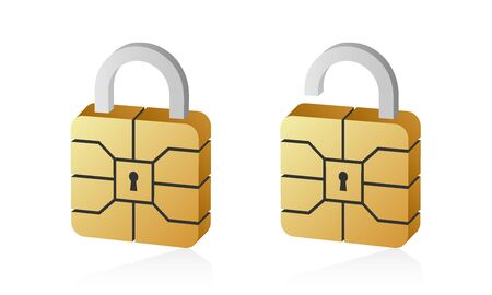 Golden EMV chip padlock for credit card. Secure online banking payment isolated on white background.