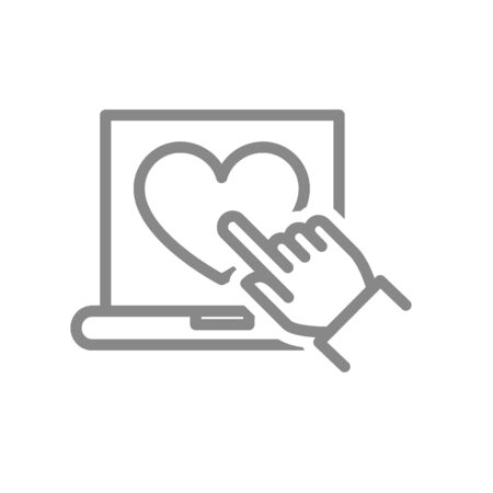 Laptop with heart and hand cursor line icon. Customer satisfaction, positive feedback symbol