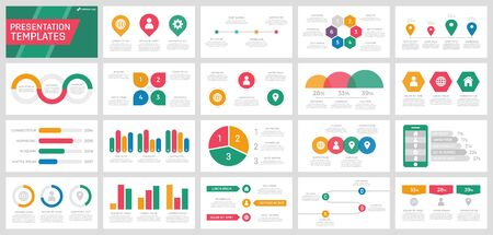 Set of orange, red, green and blue elements for multipurpose presentation template slides with graphs and charts.