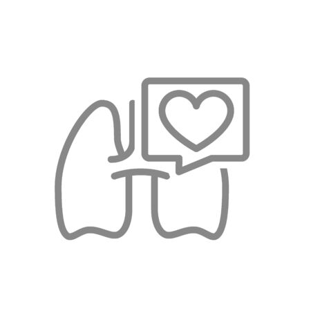 Lungs with heart in speech bubble line icon. Healthy internal organ symbol  イラスト・ベクター素材