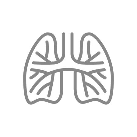 Lungs with pulmonary vessels line icon. Pulmonary embolism, arterial hypertension symbol