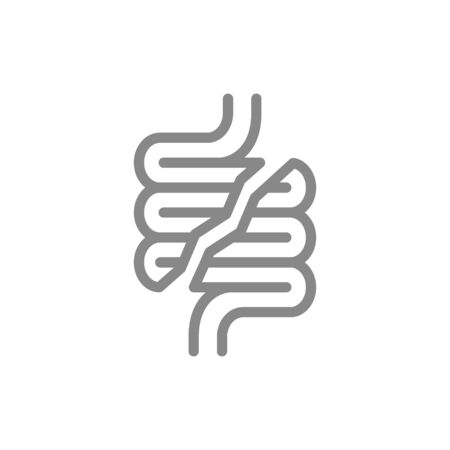 Human intestine disease line icon. Damaged internal organ, acute pain, transplant rejection symbol