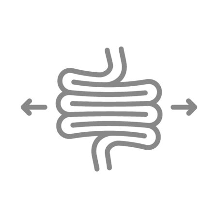 Irritable bowel syndrome line icon. Diseases internal organ, intestine dolichosigma symbol Vektorové ilustrace