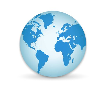 3D Planet Earth. Globe with all continents isolated on white background. Vector Illustration