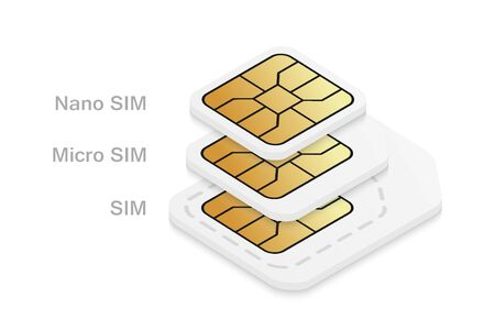 Different mobile sim card size. Standard, micro and nano phone card isolated on white background.