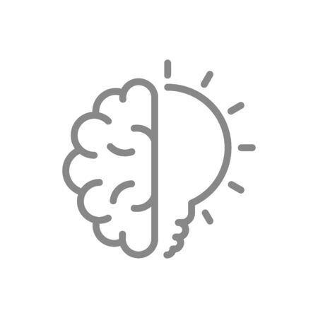 Human brain with light bulb line icon. Creative idea, brainstorm, thinking symbol
