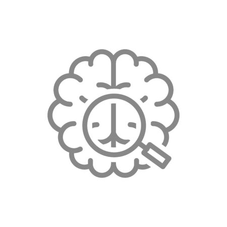Brain with magnifying glass line icon. Organ research, health analyzes, disease prevention symbol
