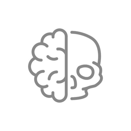 Human brain with skull line icon. Healthy internal organ, central nervous system symbol