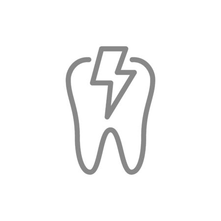Tooth with acute pain line icon. Danger of teeth disease, pain symptoms symbol and sign illustration design. Isolated on white background 向量圖像
