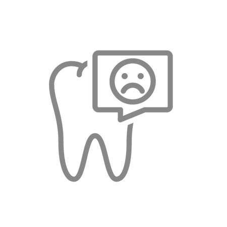 Tooth with sad face in speech bubble line icon. Diseased organ in oral cavity symbol and sign illustration design. Isolated on white background 向量圖像