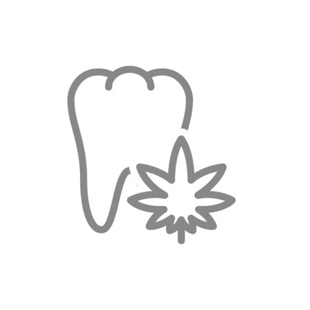 Tooth with marijuana leaf line icon. Cannabis treatment, anesthesia symbol and sign illustration design. Isolated on white background