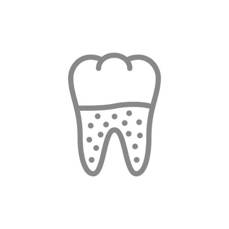 Tooth decay line icon. Unhealthy tooth, caries, periodontitis symbol and sign illustration design. Isolated on white background