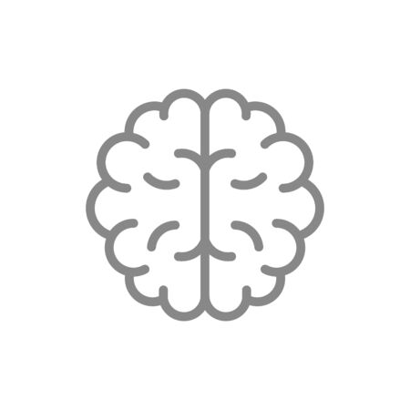 Human brain line icon. Healthy internal organ symbol and sign illustration design. Isolated on white background