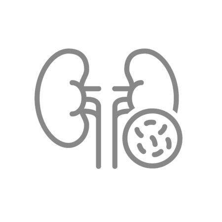 Kidneys with bacteria line icon. Diseased internal organ, pyelonephritis, bacterial urinary tract infection symbol and sign illustration design. Isolated on white background Illustration