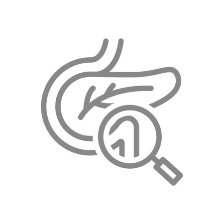 Pancreas with magnifying glass line icon. Human organ research, disease prevention symbol