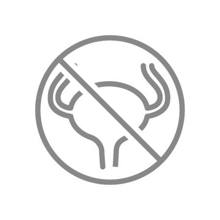 Forbidden sign with a urinary bladder line icon. Amputation internal organ, no urinary bladder, transplant rejection symbol