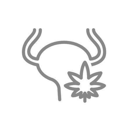 Urinary bladder with marijuana leaf line icon. Cannabis treatment, anesthesia symbol and sign illustration design. Isolated on white background Illustration