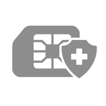 Protected SIM card flat gray icon. Mobile slot with shield, security phone card symbol Illusztráció