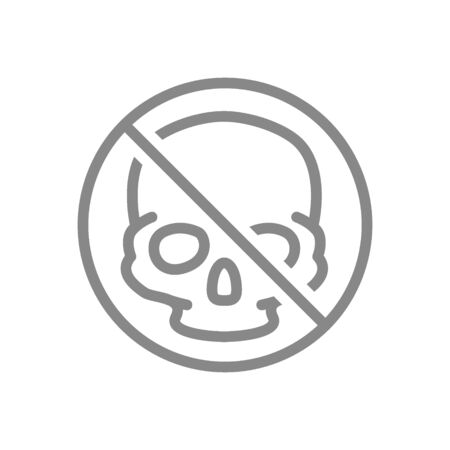 Forbidden sign with a human skull line icon. Transplantation, no head bones symbol