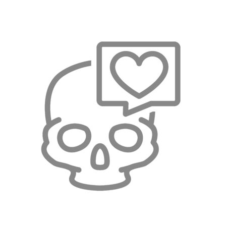 Skull with heart in speech bubble line icon. Bone structure of the head, cranium symbol Illustration