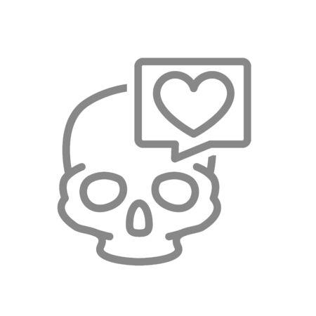 Skull with heart in speech bubble line icon. Bone structure of the head, cranium symbol Illustration