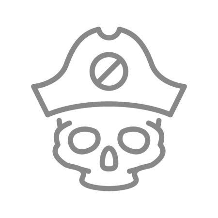 Skull with pirate captain hat line icon. Tattoo sketch, cranium symbol Illustration